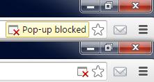 Pop-Up Blocker Warning Message